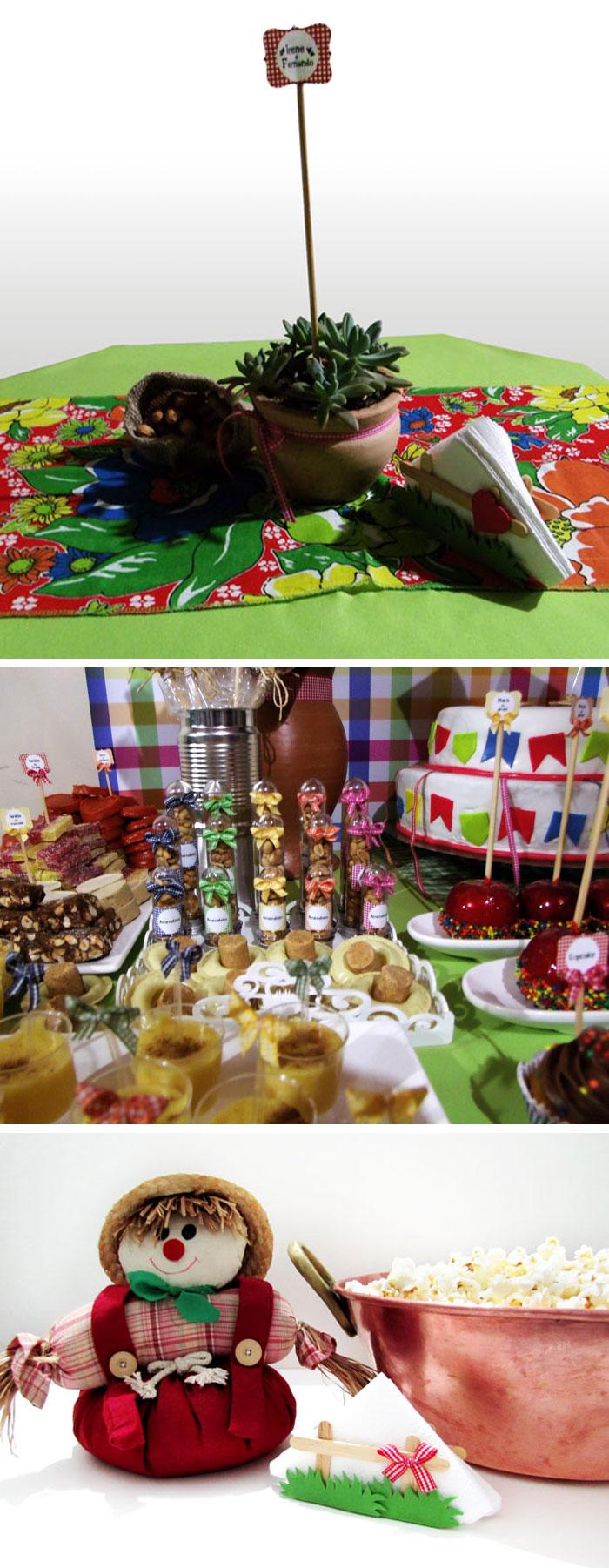 Decoração de festa junina, espantalho e pipoca
