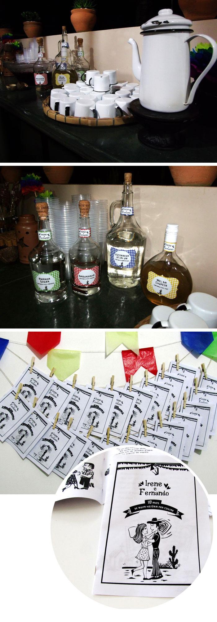 Decoração de festa junina, quentão, cachaça e cordel!