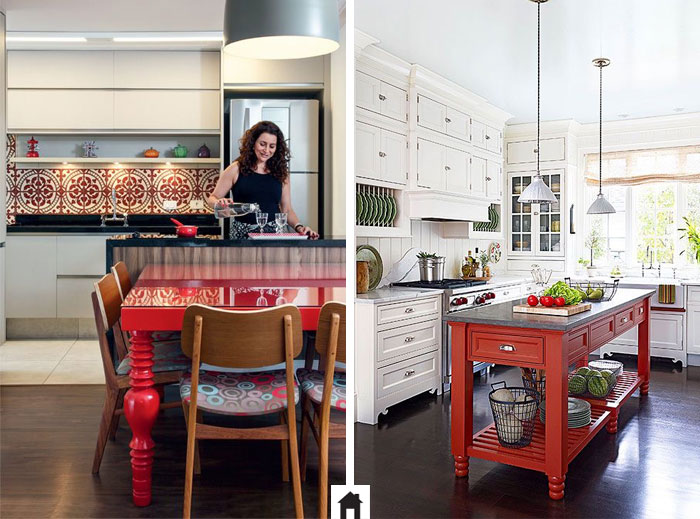 Mesa vermelha para cozinha