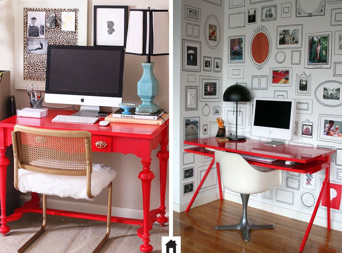 Mesa de trabalho Vermelha