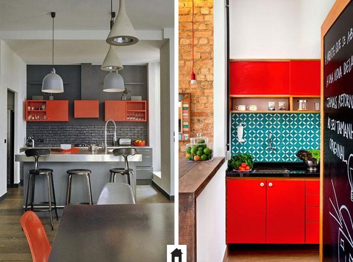 Cozinha com armários vermelhos