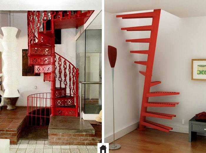 Escada caracol vermelha