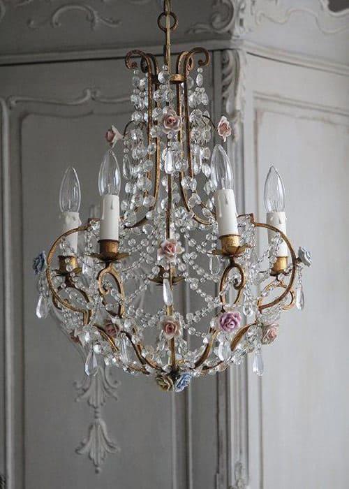 Vintage Lampe mit Kristallen